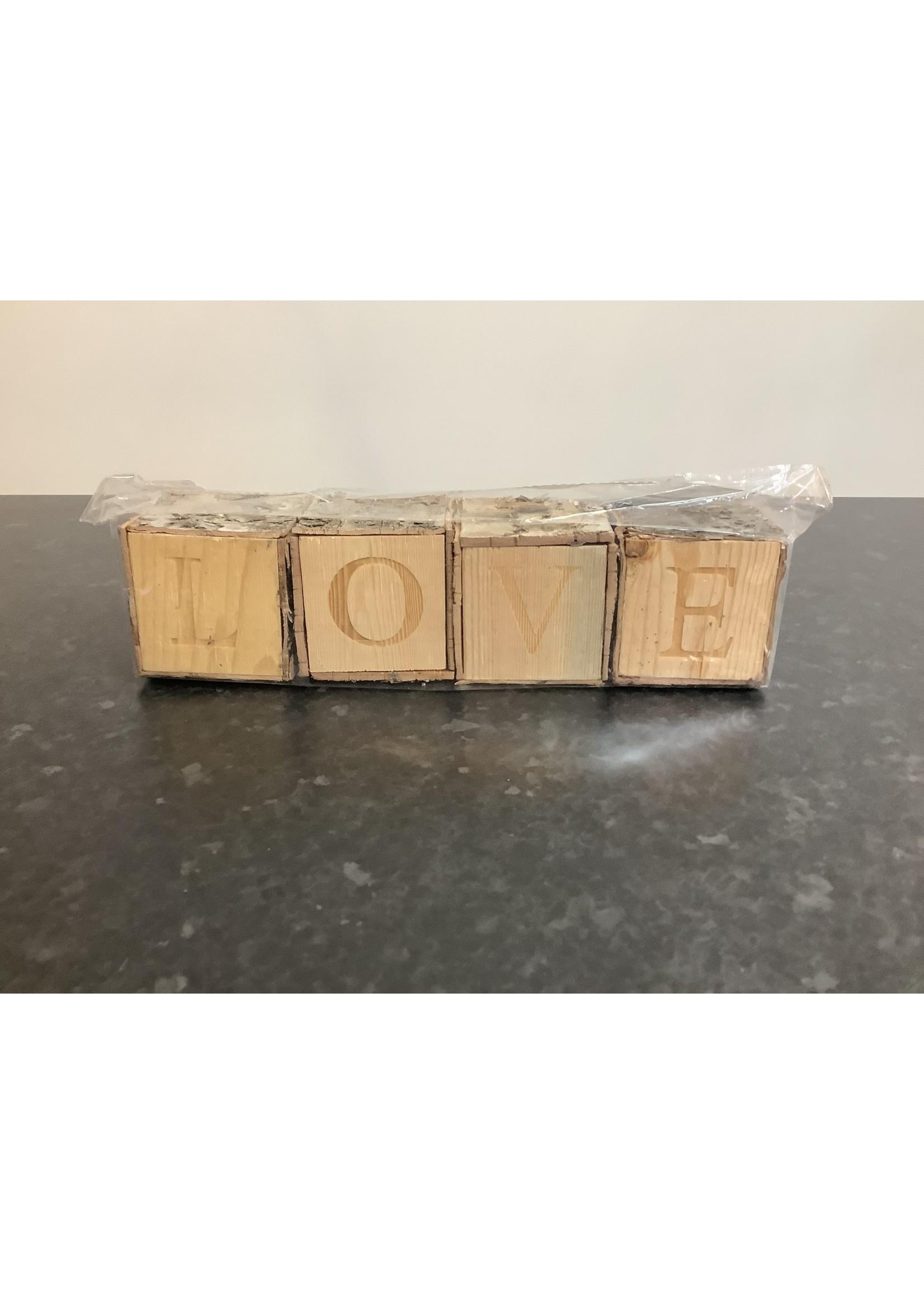 Love on wooden blocks