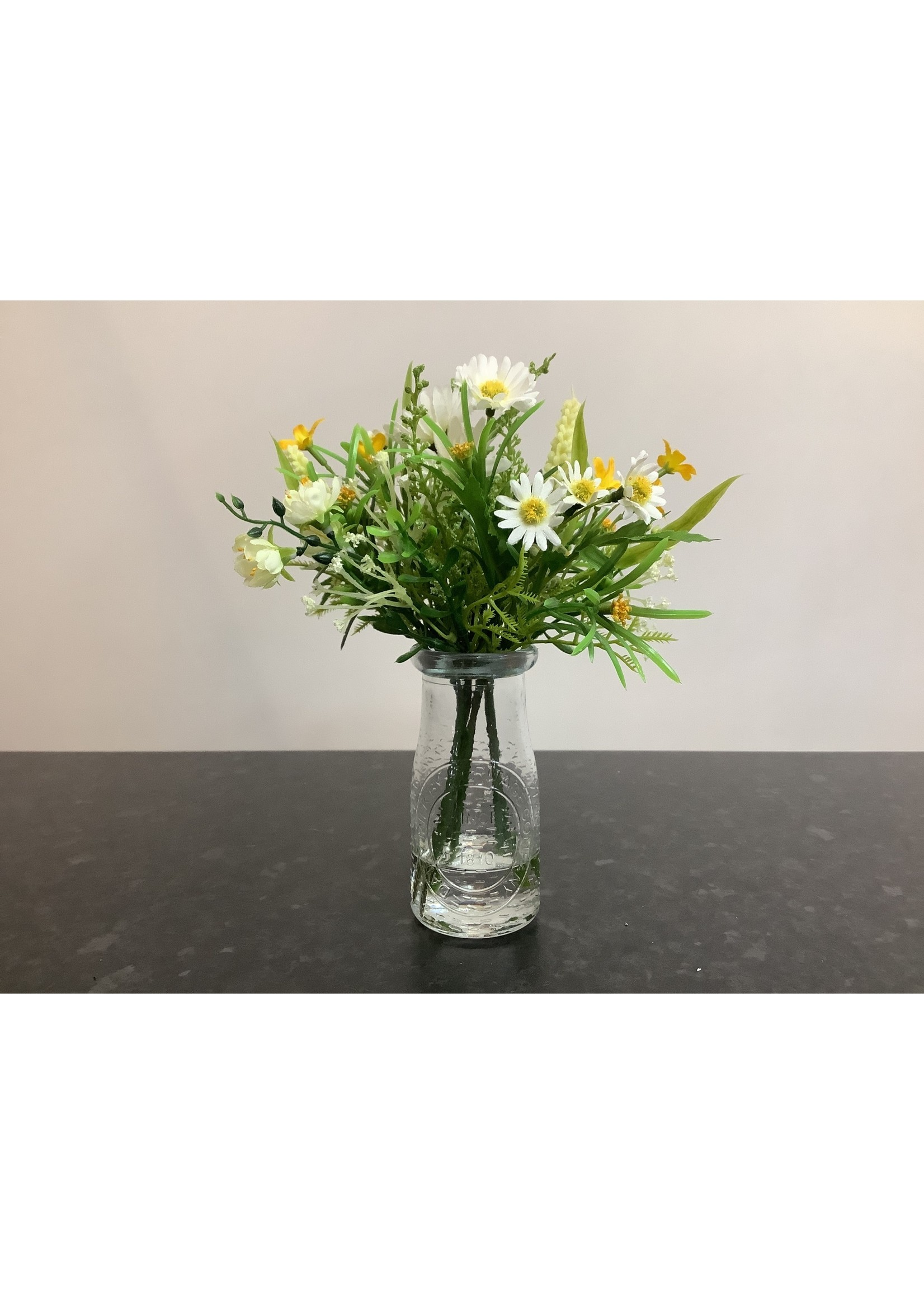 Daisy and blossom in milk bottle 22cm tall