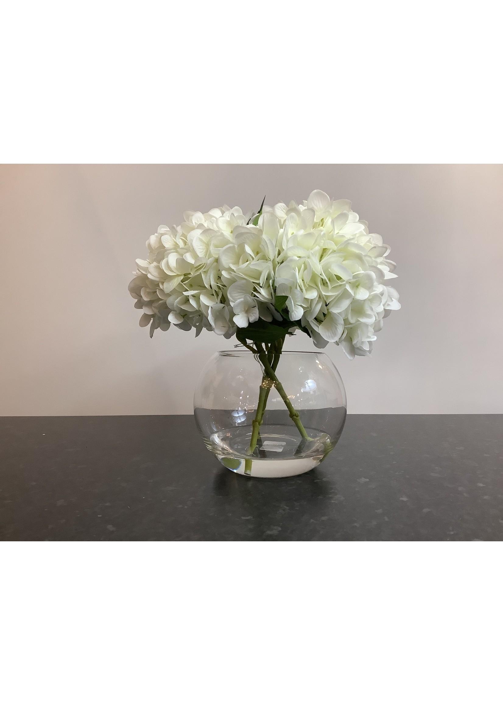 White hydrangea in globe 30x20cm