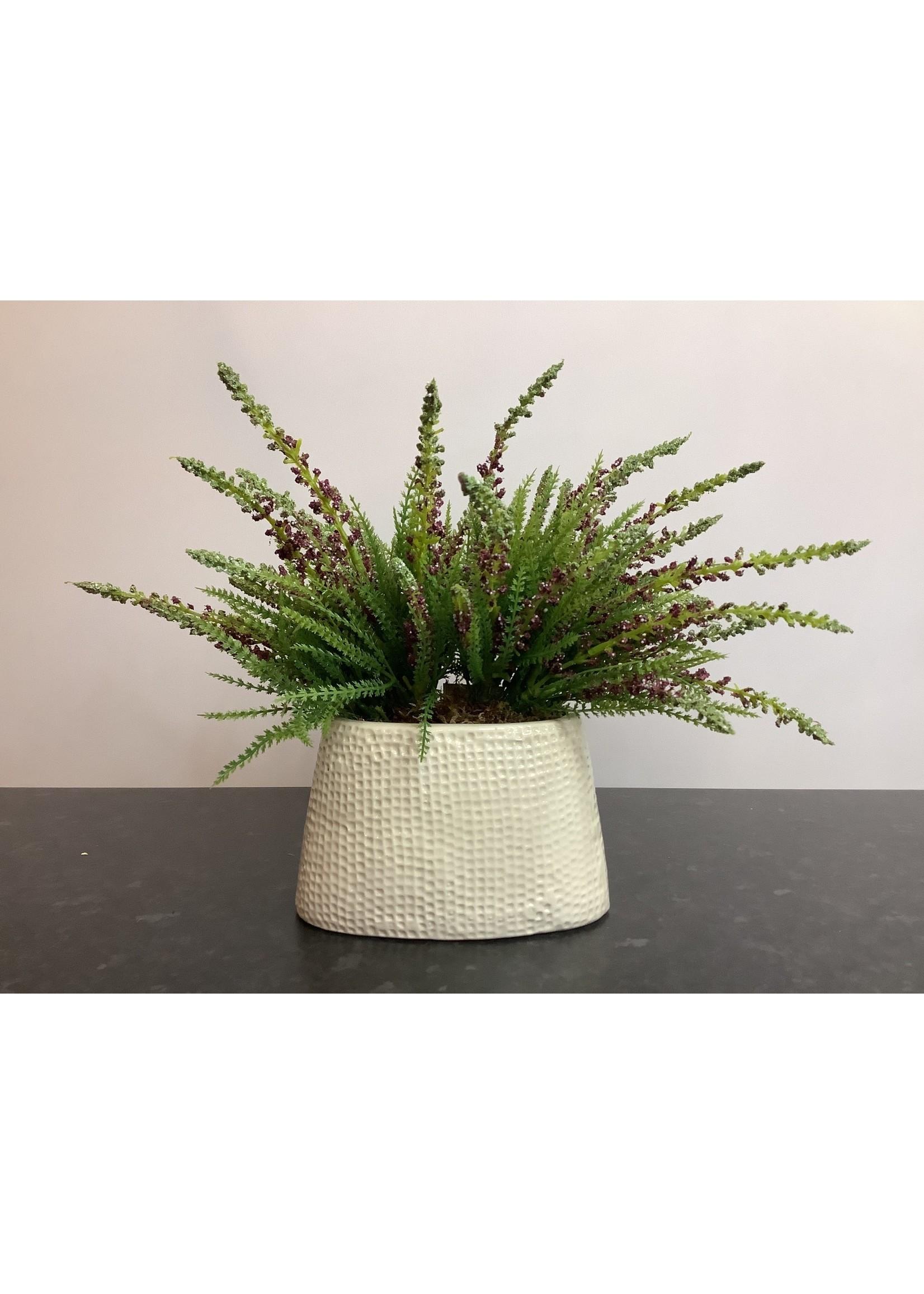 Heather in ceramic vase purple 16x25cm