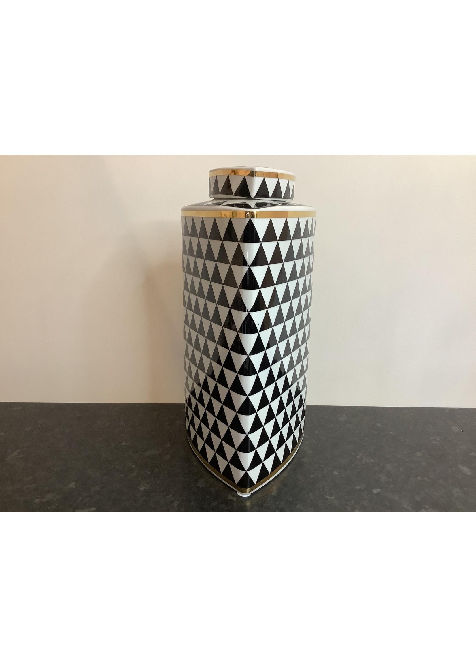 Tall Black & White Vase 35cm