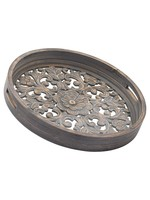 Set Of 2 Carved Grey Wash Trays