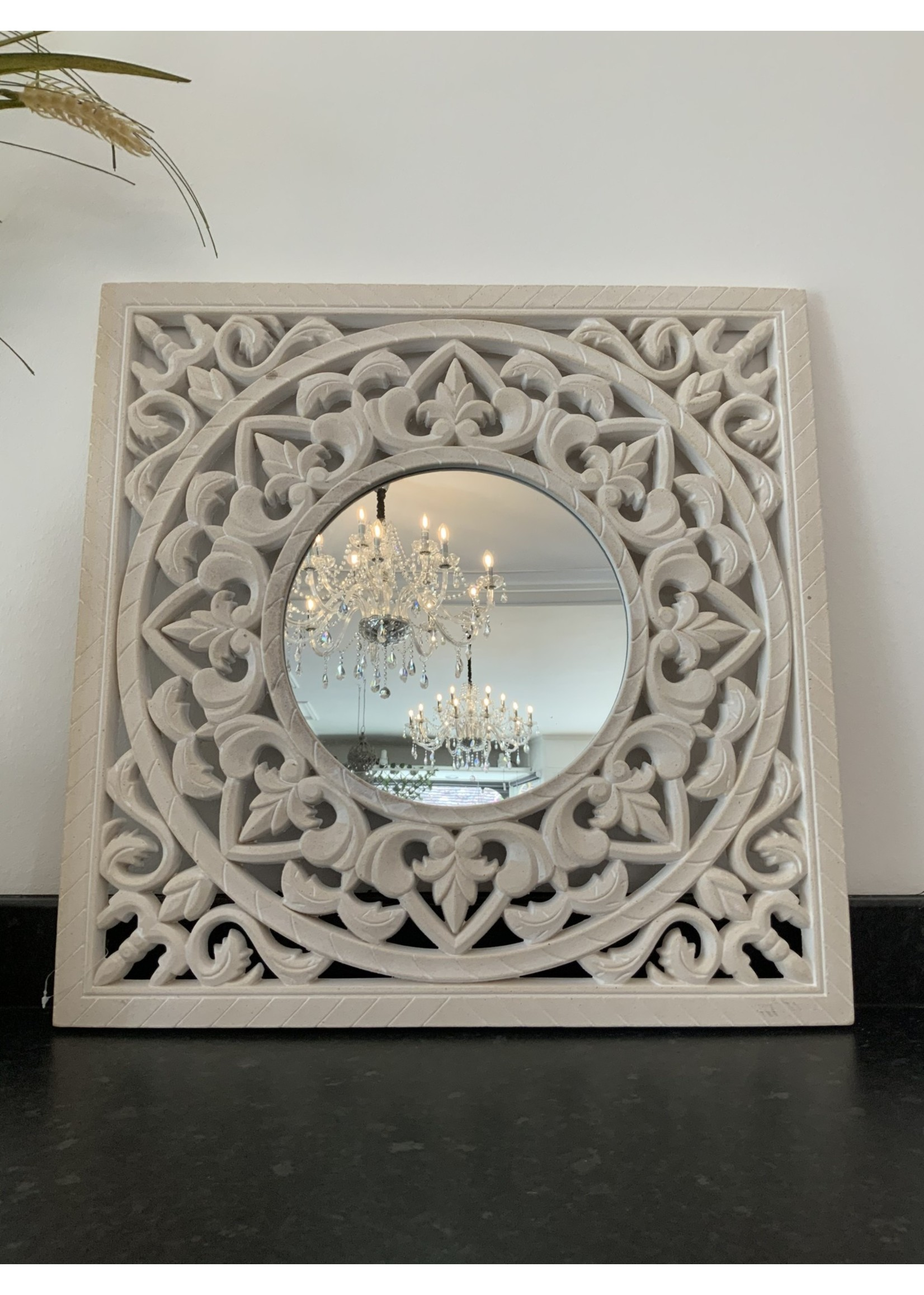 Square mirror with carved detail