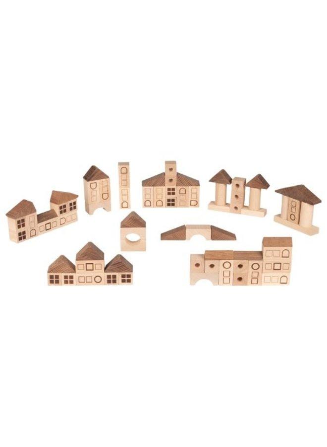 Houten bouwblokken stad