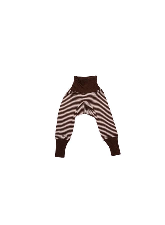 Wol-zijde broekje met omslag bruin gestreept