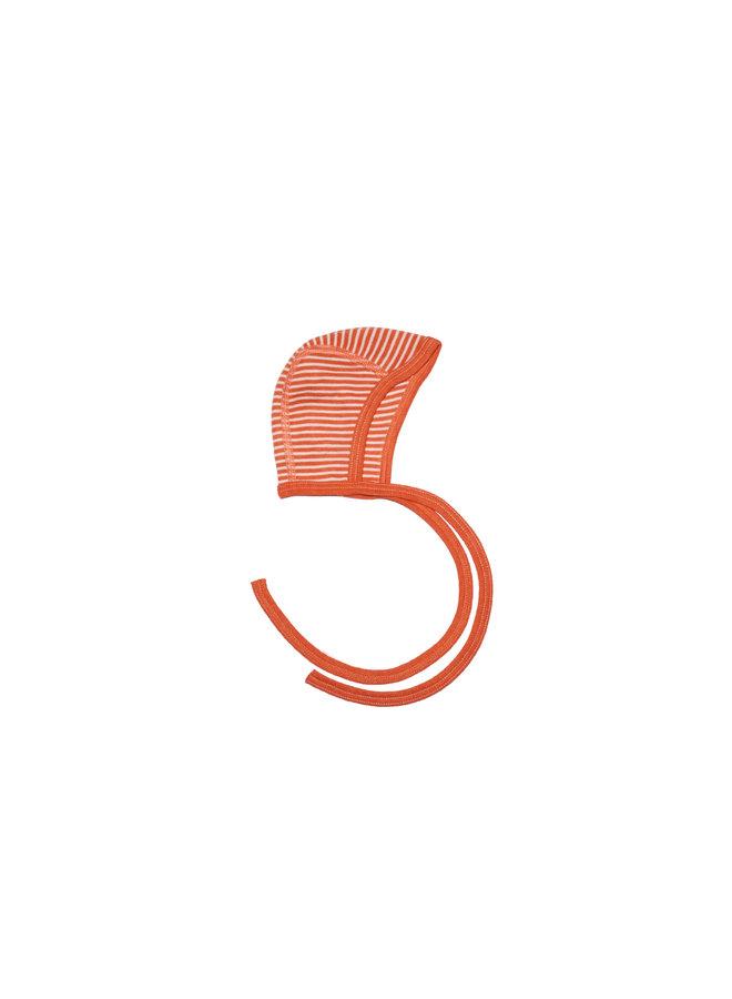 Strikmutsje wol-zijde oranje gestreept
