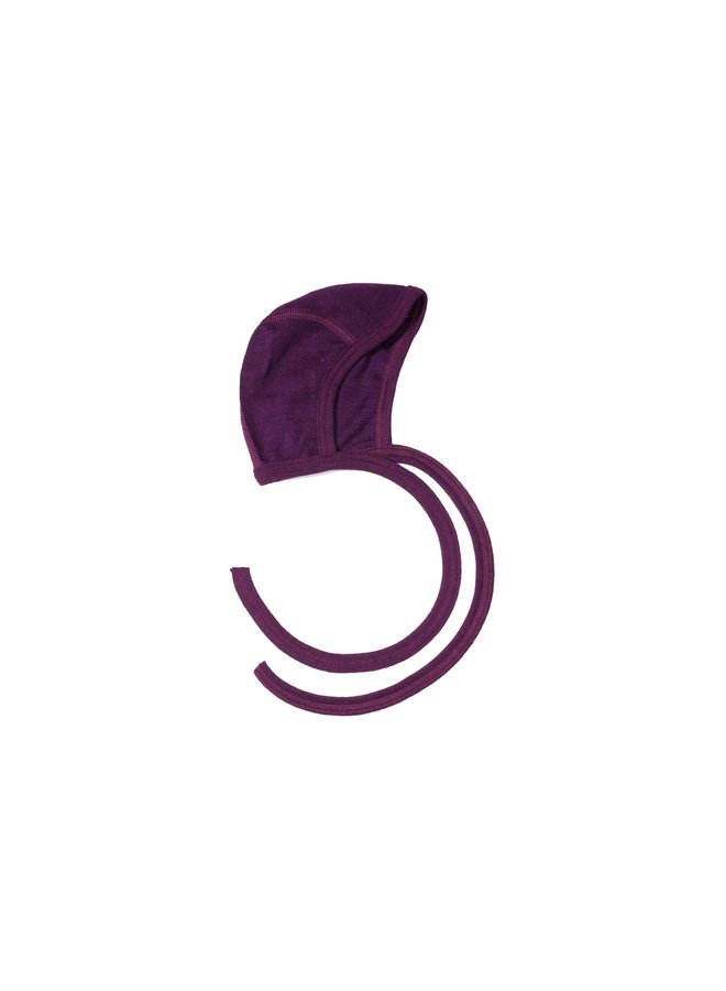 Strikmutsje wol-zijde paars