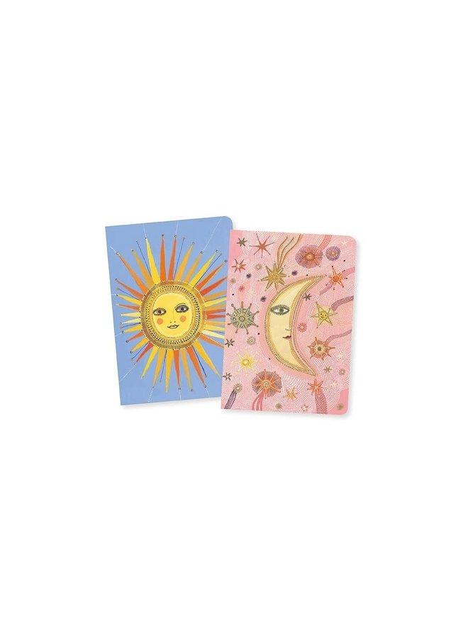 Set van 2 notitieboekjes - Zon en maan
