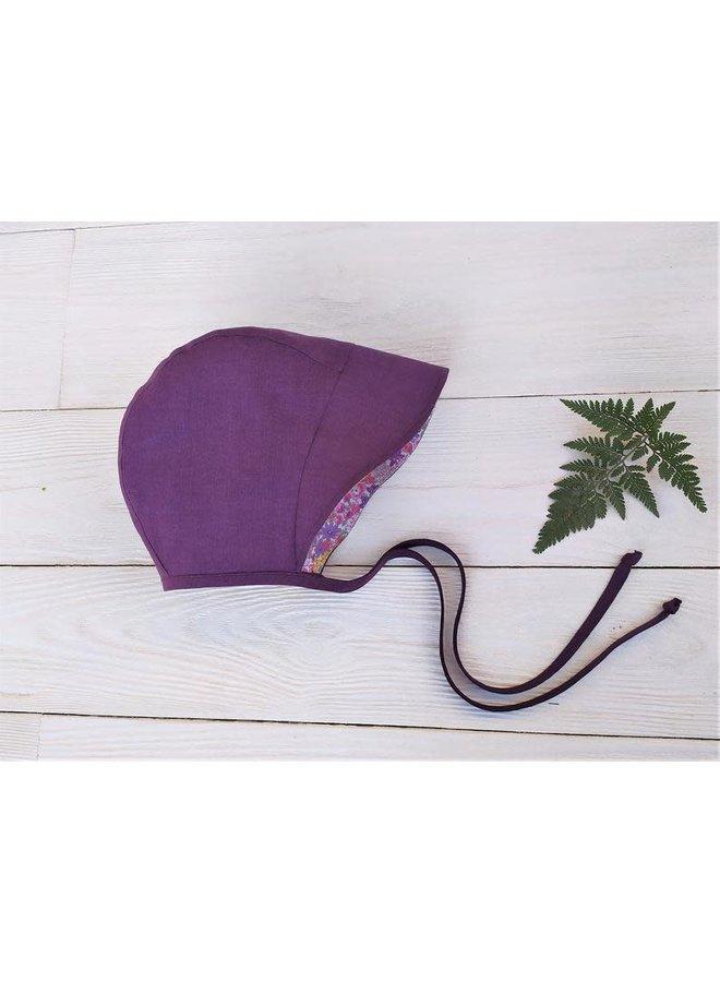 Bonnet full brim purple - floral