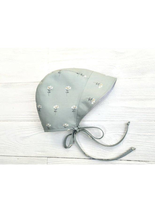 Bonnet full brim green floral - creme