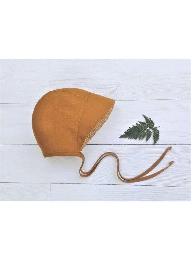 Bonnet full brim mustard - stripey