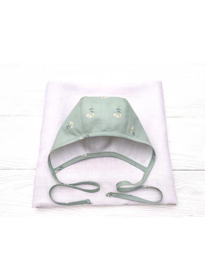 Bonnet green floral- creme