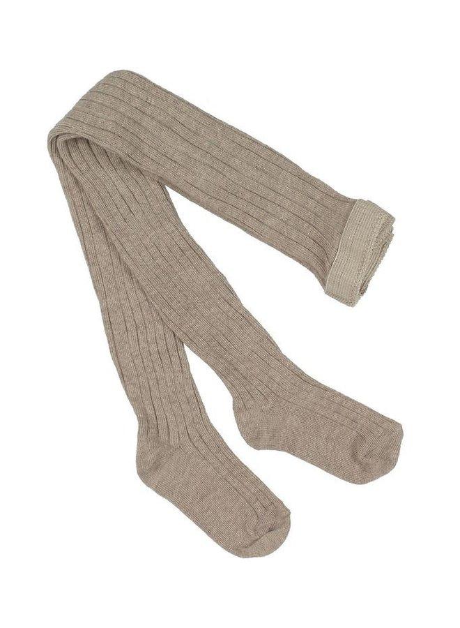 Cotton rib tights - Light Brown Melange