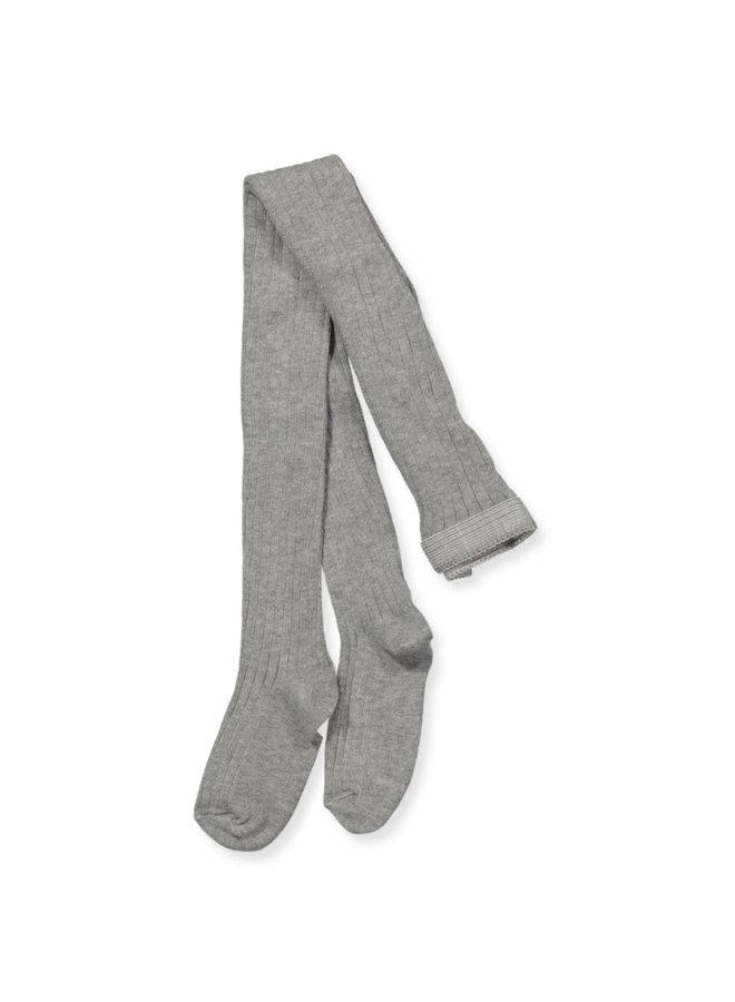 Cotton rib tights - Grey Melange
