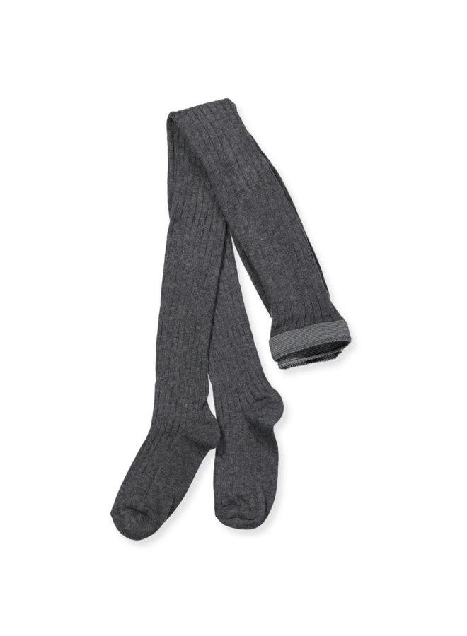 Cotton rib tights - Dark Grey Melange