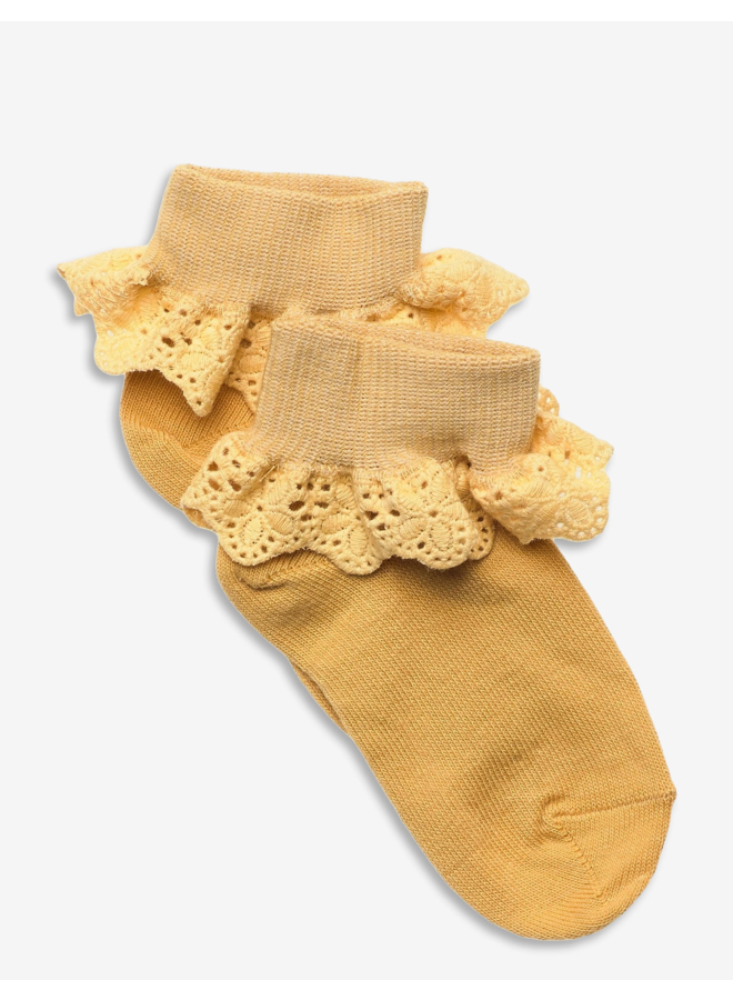 Filippa socks with lace - Ochre