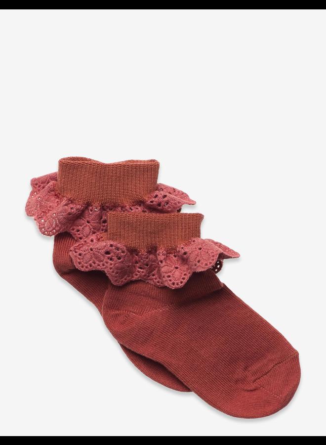 Filippa socks with lace - Marsala