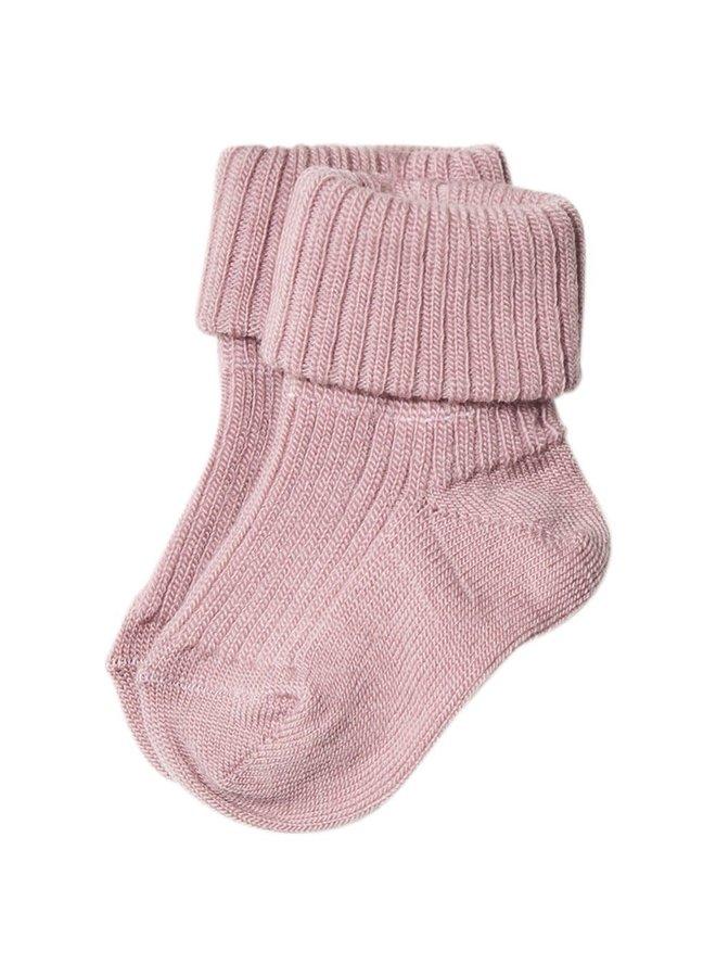 Rib wool baby socks - Wood Rose