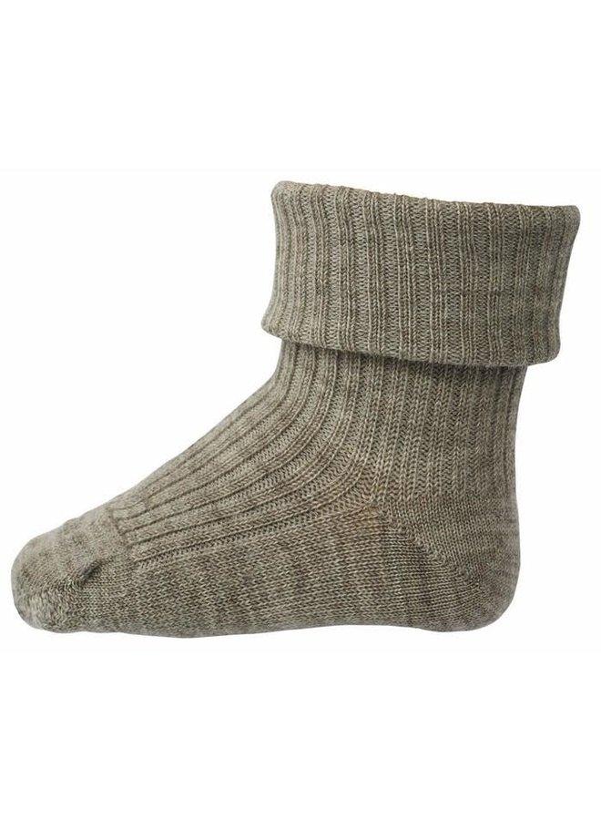 Rib wool baby socks - Light Brown Melange