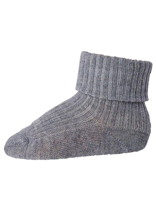 Rib wool baby socks - Grey Melange