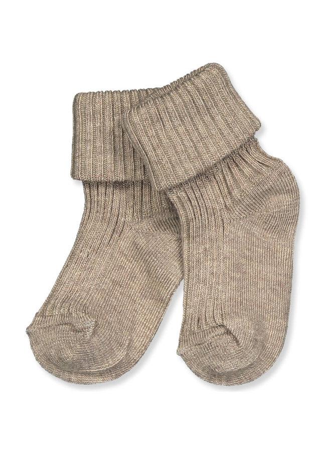 Cotton rib baby socks - Light Brown Melange