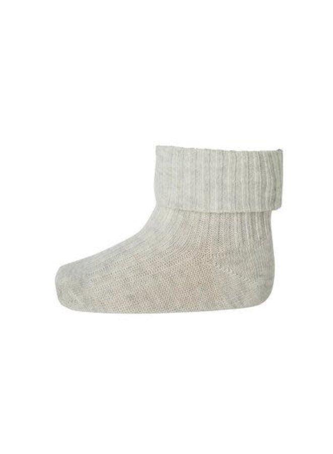 Cotton rib baby socks - Creme Melange