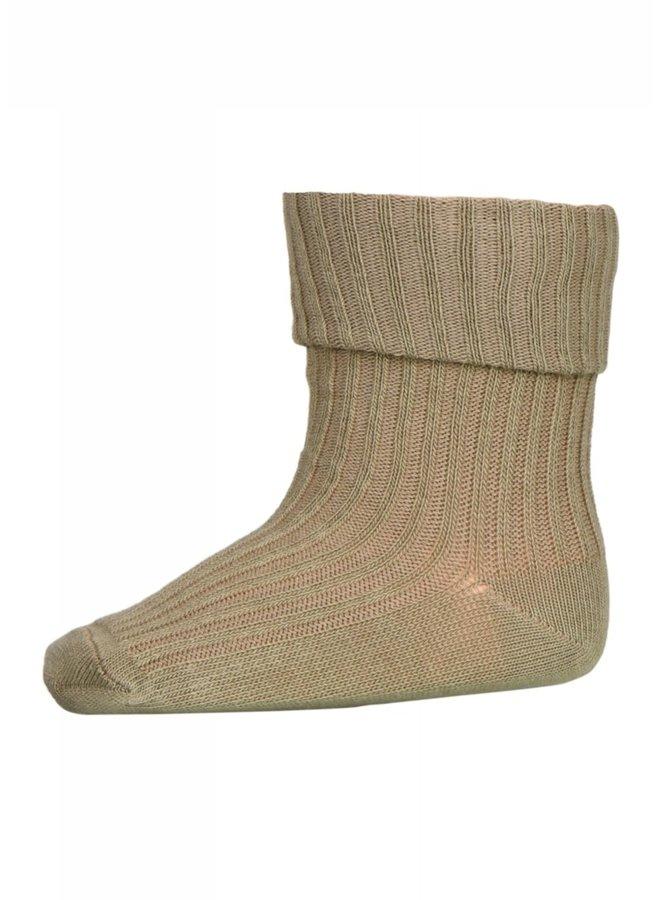 Cotton rib baby socks - Safari Green