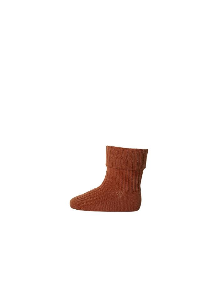 Cotton rib baby socks - Rusty Clay