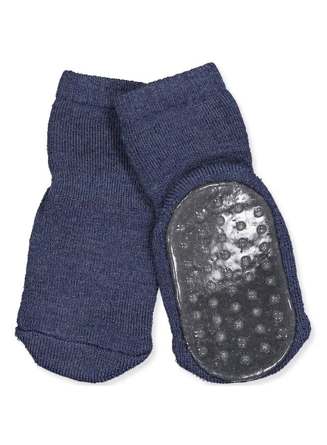 Cotton socks with anti-slip - Dark Denim Melange
