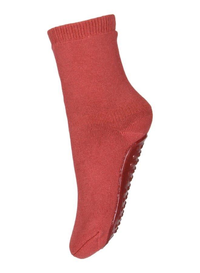 Cotton socks with anti-slip - Marsala