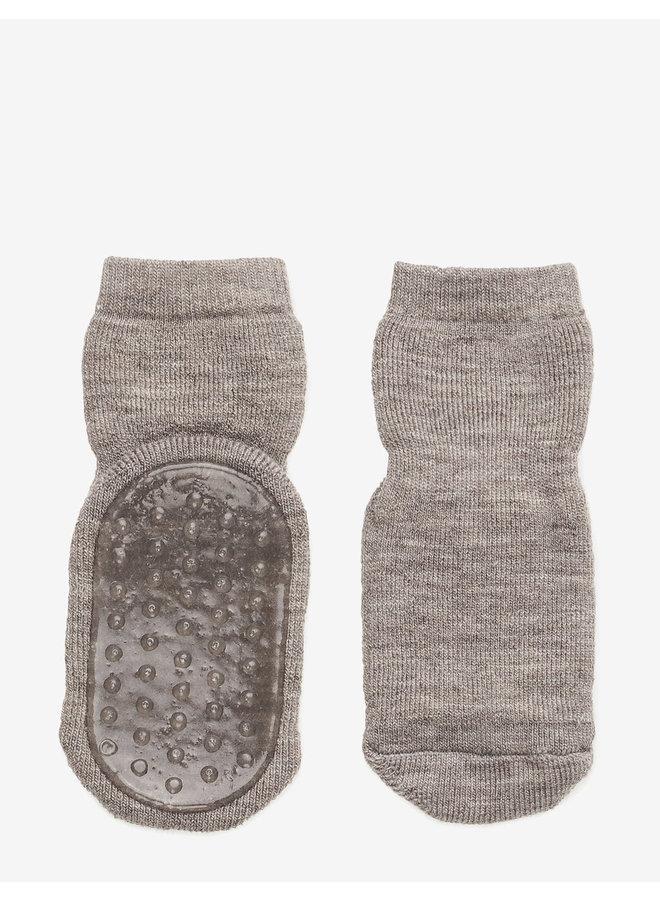 Wool socks with anti-slip - Light Brown Melange