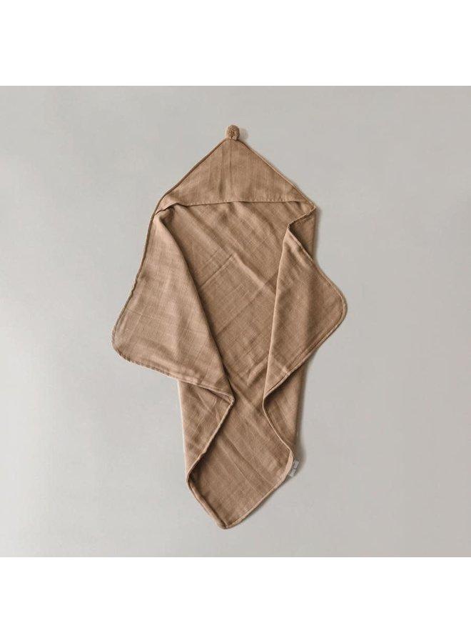 Organic hooded towel - Camel