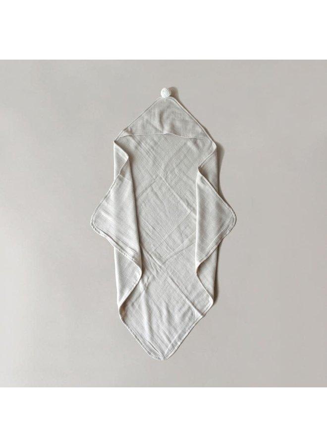 Organic hooded towel - Latte Sugar pom