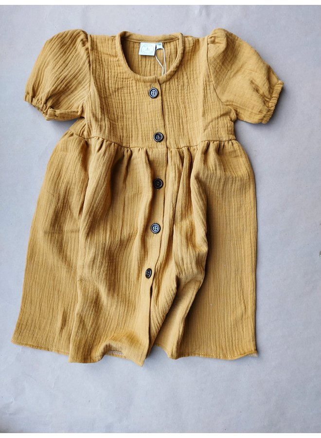Dress with buttons - Oker/brown mousseline