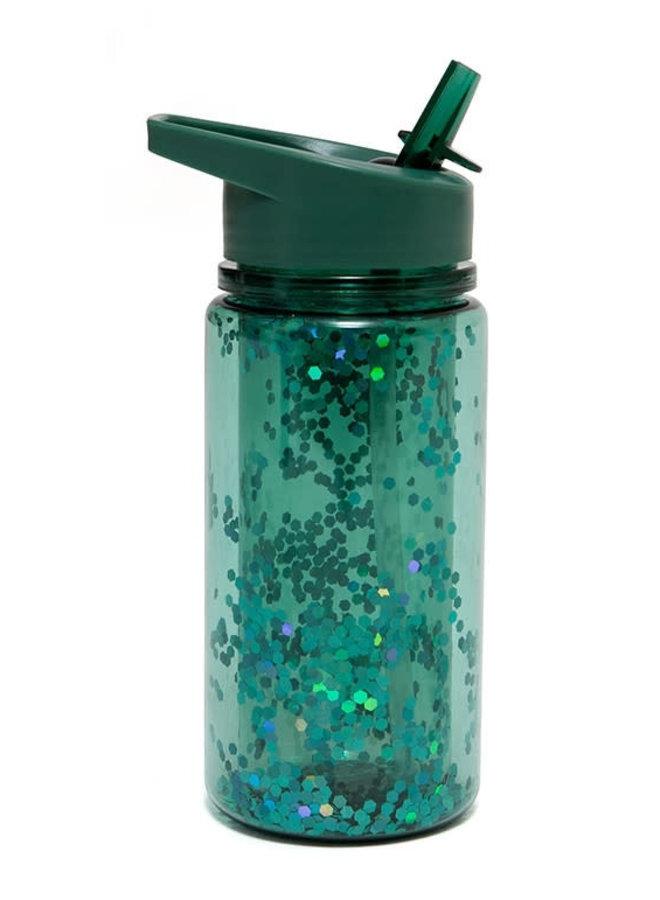 Fles glitter salie green