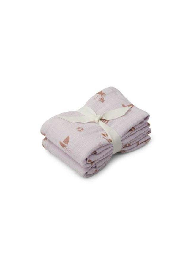 Lewis muslin cloth 2-pack - Seaside light lavender