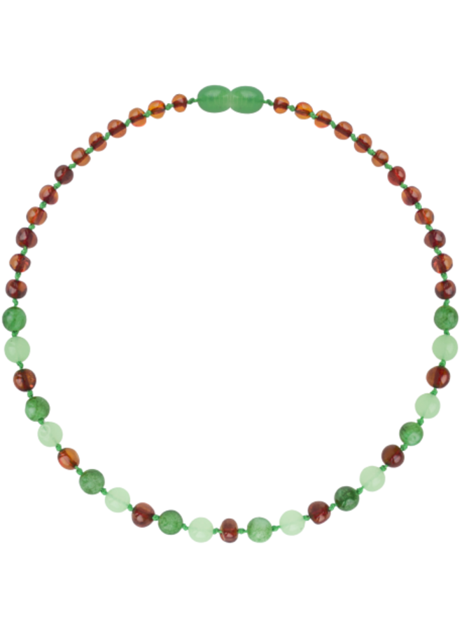 Barnsteen ketting 32 cm - Cognac groene jade