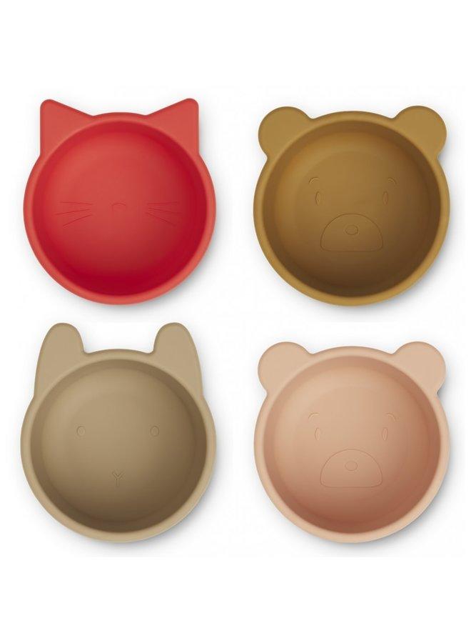 Malene silicone bowl - 4 pack Apple red/tuscany rose multi mixmix