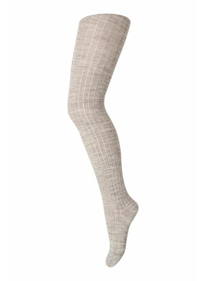Wool rib tights - Light brown melange