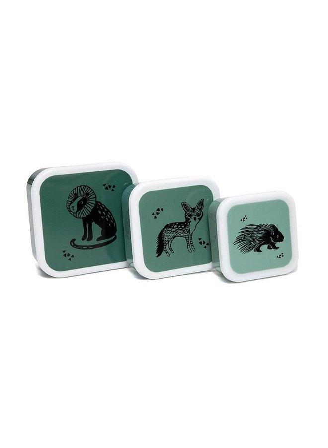 Set van 3 trommels animals salie