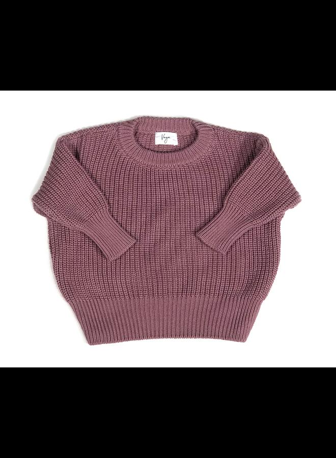 Knit sweater cordero - Aubergine