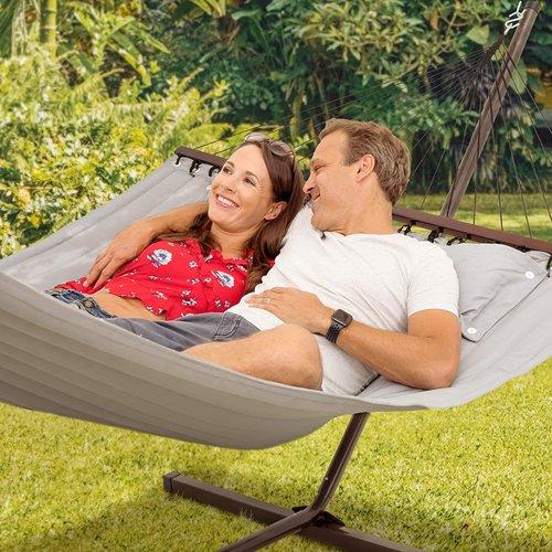 Vita5 Vita5 Hangmat met Frame, Tot 2 Personen / 200 kg, 190 x 140 cm, Met kussen, UV-Resistant, Grijs