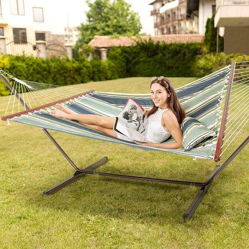 Vita5 Vita5 Hangmat met Frame, Tot 2 Personen / 200 kg, 190 x 140 cm, Met kussen, UV-Resistant, Dark Green / Dark Blue