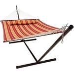 Vita5 Vita5 Hangmat met Frame, Tot 2 Personen / 200 kg, 190 x 140 cm, Met kussen, UV-Resistant, Rood/Bruin