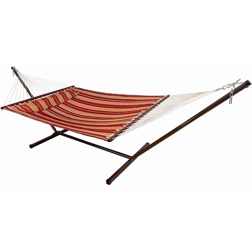 Vita5 Vita5 Hammock with Frame, Up to 2 People / 200 kg, 190 x 140 cm, Removable Pillow, Weatherproof, Rood/Bruin