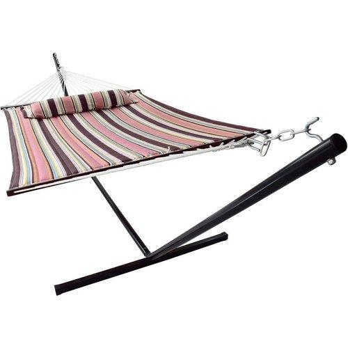 Vita5 Vita5 Hangmat met Frame, Tot 2 Personen / 200 kg, 190 x 140 cm, Met kussen, UV-Resistant, (Mocca)