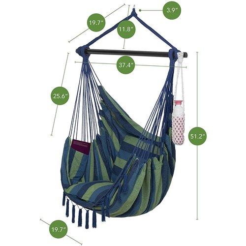 Vita5 Vita5 Hangstoel met 2 kussens - Blauw/Groen