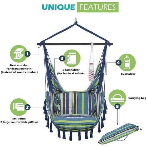 Vita5 Vita5 Hangstoel met 2 kussens - Blauw/Groen/Wit