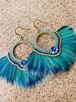 Guts & Goats Aqua Feather Earrings