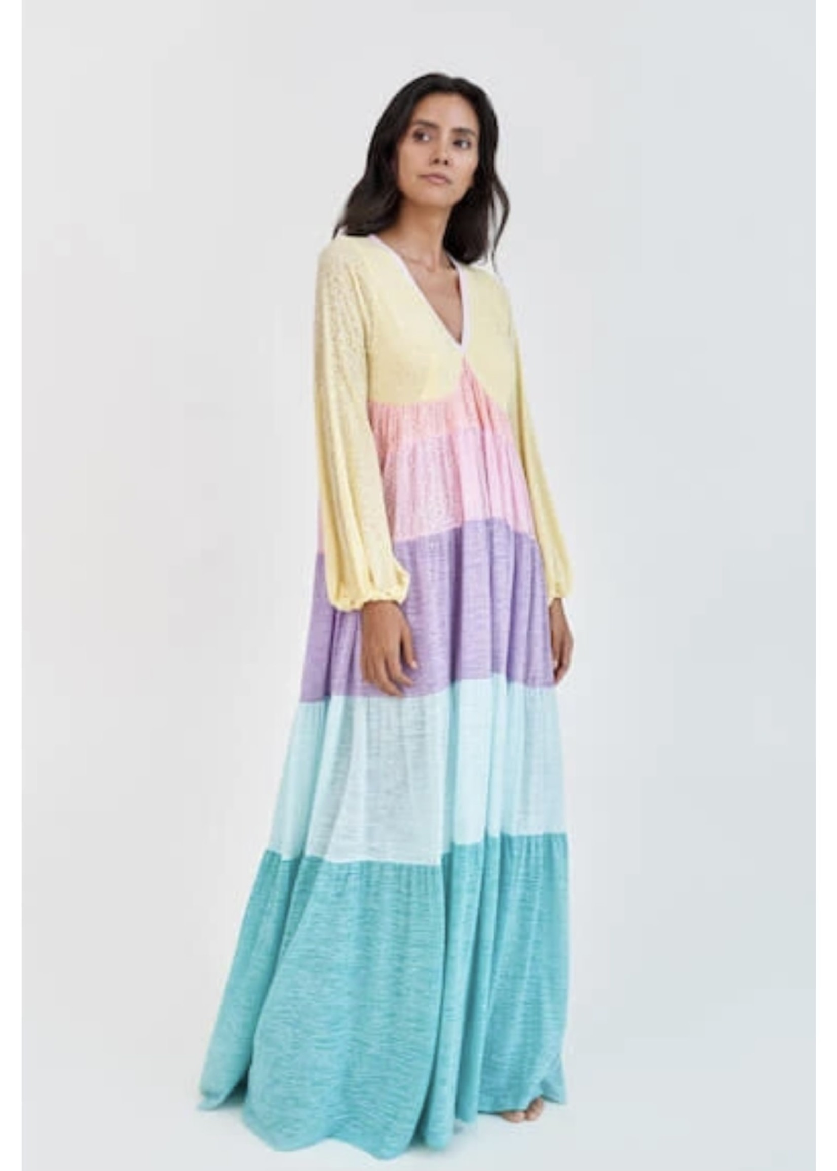 Guts & Goats Rainbow V-Neck Dress